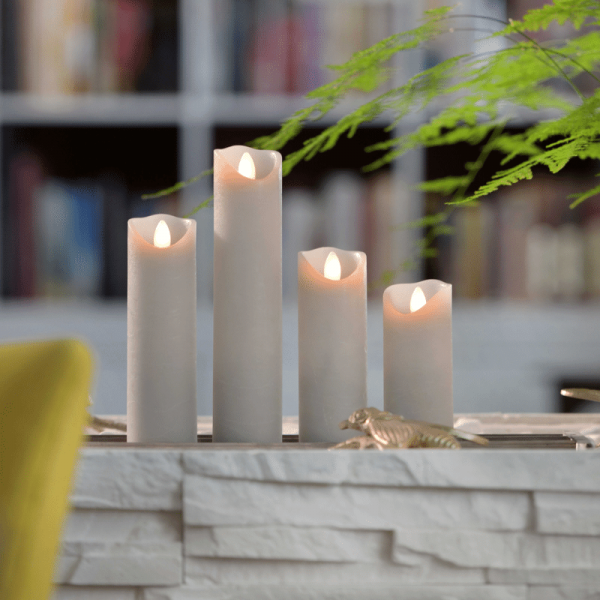 SOMPEX LED Wachskerze SHINE schmal | grau | gefrostet | D: 5cm H: 22,5cm | fernbedienbar | Timer