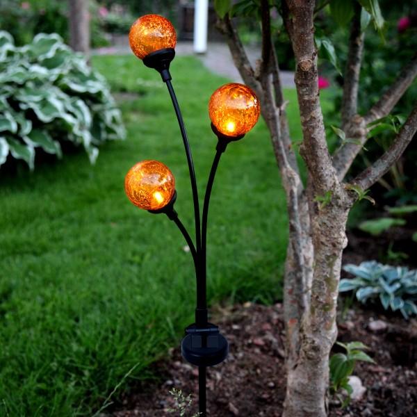 """LED Solarstab """"Glaskugeln"""" - amber LED - innen beleuchtete Kugeln - H: 70cm - Dämmerungssensor"""