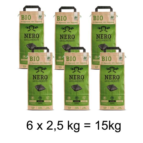 NERO BIO Grill Holzkohle Briketts - 6 x 2,5kg Sack - Garantiert ohne Tropenholz - Holz aus Deutschla