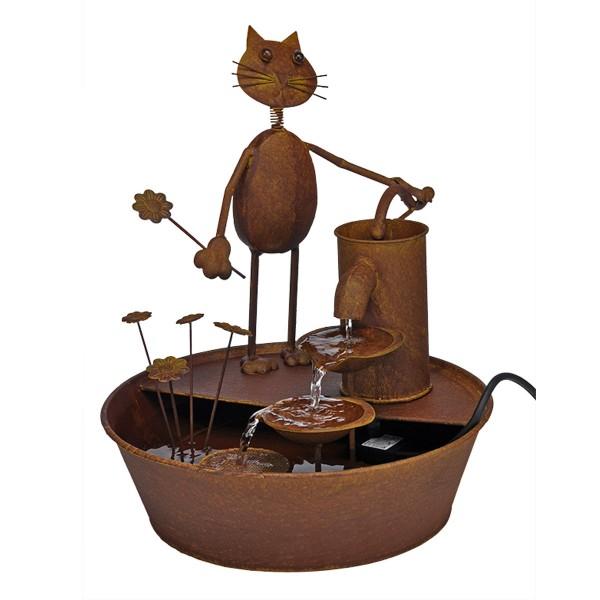Wasserspiel / Brunnen mit Katze und Blume - Metall - inkl. Pumpe - ca. 34,5 x 41,5cm