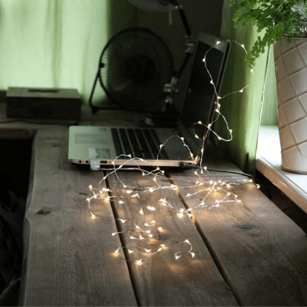 "LED Drahtlichterkette ""String Dew Drop"" USB - 100 weiße LED - 5m - silberner Draht - 8 Modi"