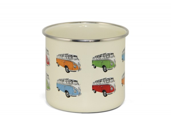 """VW Collection Emaille Tasse """"BULLI T1 PARADE"""" - 500ml - mit Edelstahlrand"""