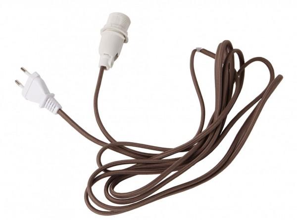 Lampenhalterung für Leuchtsterne   E14   Textilummanteltes Kabel   3,50m   Braunes Kabel