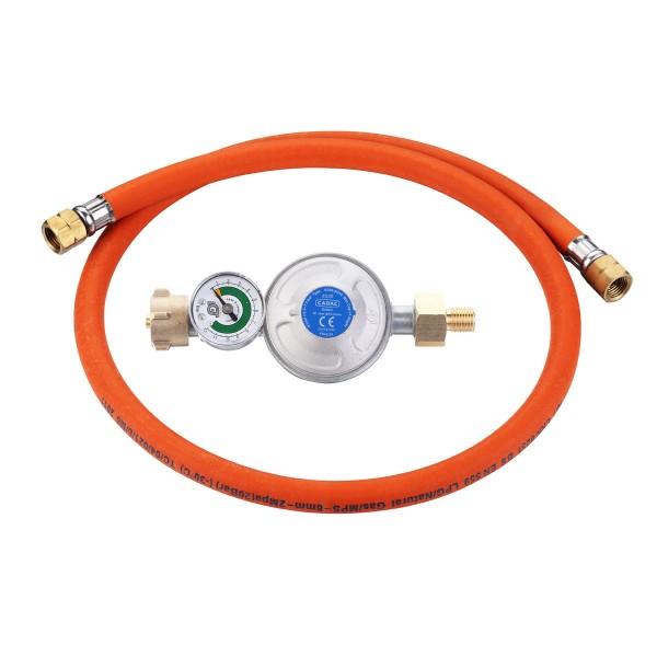 CADAC Überdruckregler, Manometer, Schlauchbruchsicherung - 50mbar - inklusive 85cm Gasschlauch
