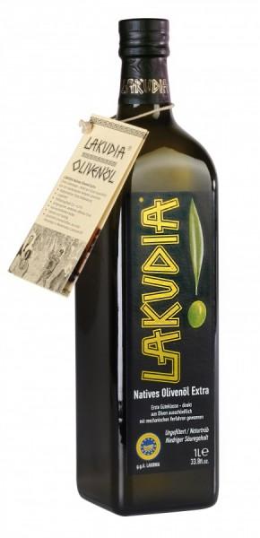 Lakudia 1 Liter Olivenöl Nativ Extra, Glasflasche mit Ölspender