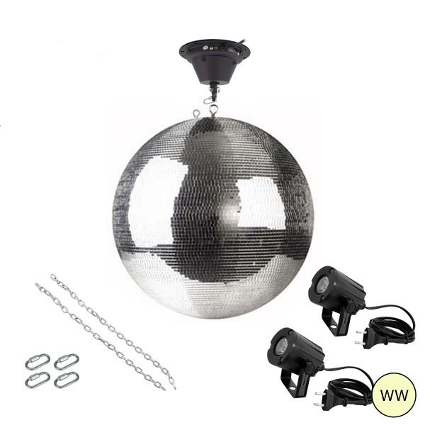 Spiegelkugel Komplettset 50cm mit Motor, 2 x LED Pinspot (warmweiss) und Montagematerial PREMIUM