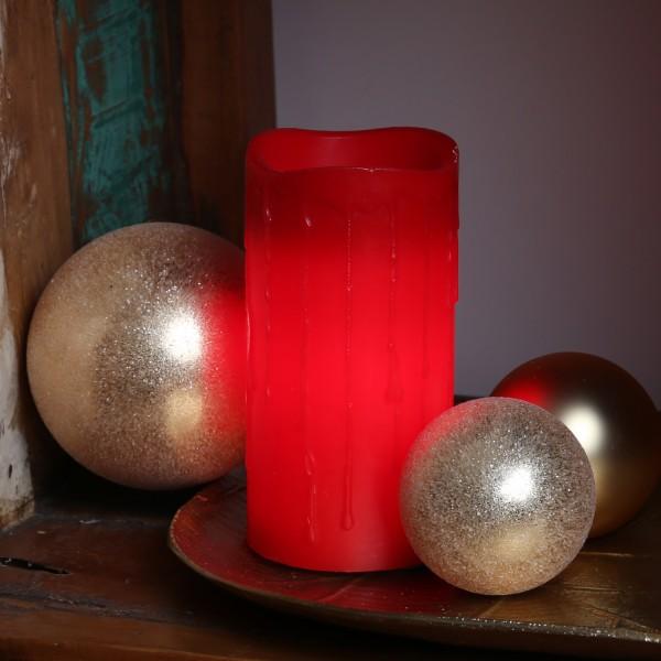 LED Stumpenkerze DRIP - Echtwachs - flackernde LED - Timer - H: 15cm - rot