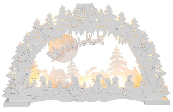 "LED-Fensterleuchter ""Erding"" 10 warm white LED, Material: Holz Farbe: weiß, Batterie ca. 25,5 cm x 42 cm Vierfarb-Karton"