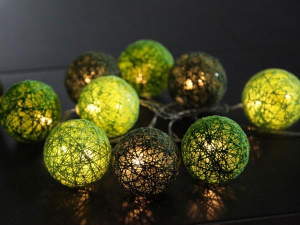 LED Lichterkette Sisal - Ball Lichterkette - 10 warmweiße LED - L: 1,35m - D: 6cm - grün