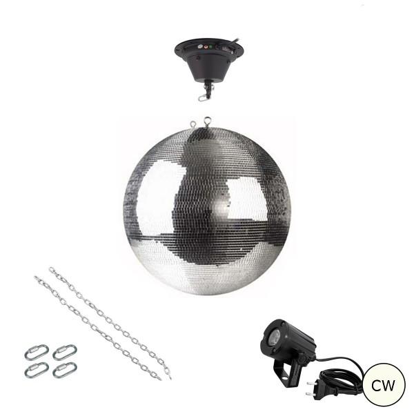 Spiegelkugel Komplettset 40cm mit Motor, LED Pinspot (kaltweiss) und Montagematerial PREMIUM