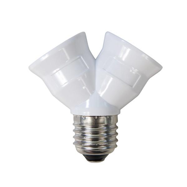 Doppelfassung E27 - 2 Leuchtmittel in einer Fassung aus Kunststoff - Y-Adapter - max 60W je Sockel
