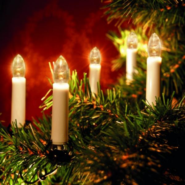 LED Kerzenkette - 25 warmweiße LED - Indoor - Strang - H: 11cm, L: 16,8m - grünes Kabel - weiß
