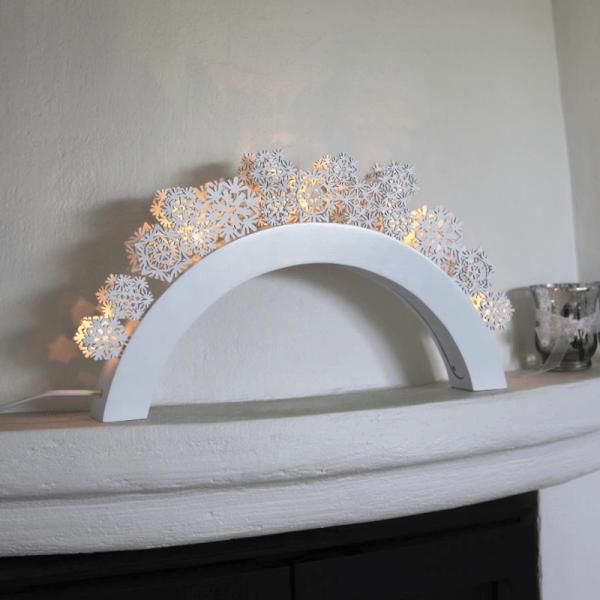 LED-Leuchtbogen SNOWFALL - 5 warmweiße LEDs - L: 41cm, H: 22cm - Holz - Schalter - Weiß
