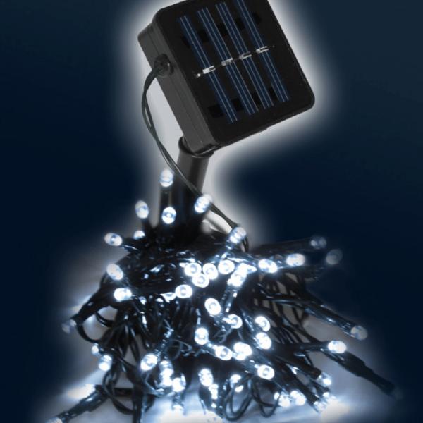 LED SOLAR Lichterkette - 50x hellweiße LEDs - In&Outdoor - grünes Kabel - kaltweiße LED - L: 5m