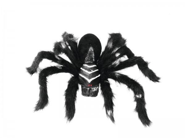 Spinne TARANTULA, schwarzes Fell - 60cm Halloween Dekoration - schwarzes Fell