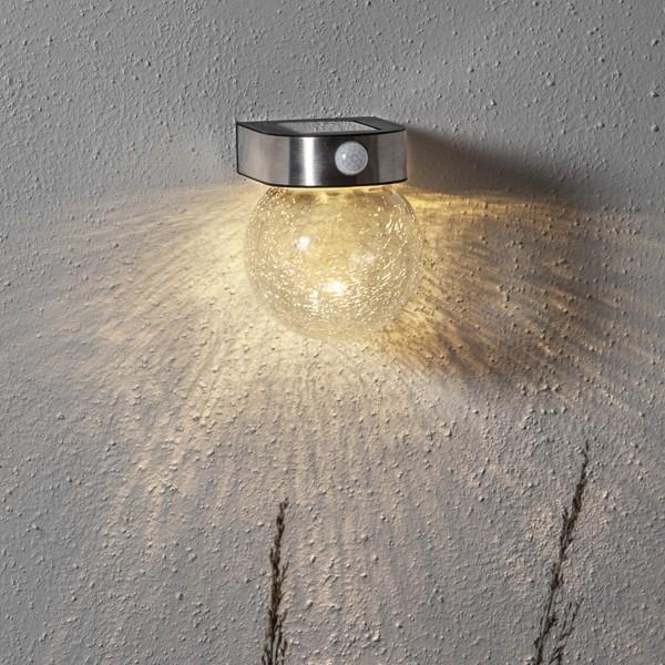 LED Solar Wandleuchte GLORY - 4 warmweiße LED - H: 14,5cm - Dämmerungssensor & Bewegungssensor