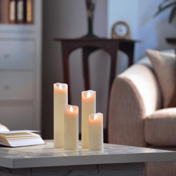 SOMPEX LED Wachskerze SHINE 4er Set schmal | elfenbein | gefrostet | fernbedienbar | Timer