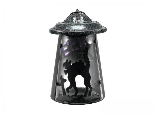 """Laterne """"Buckelkatze"""" aus Metall - 23cm - mit Glasscheibe - für große Teelichter oder LED Kerzen"""