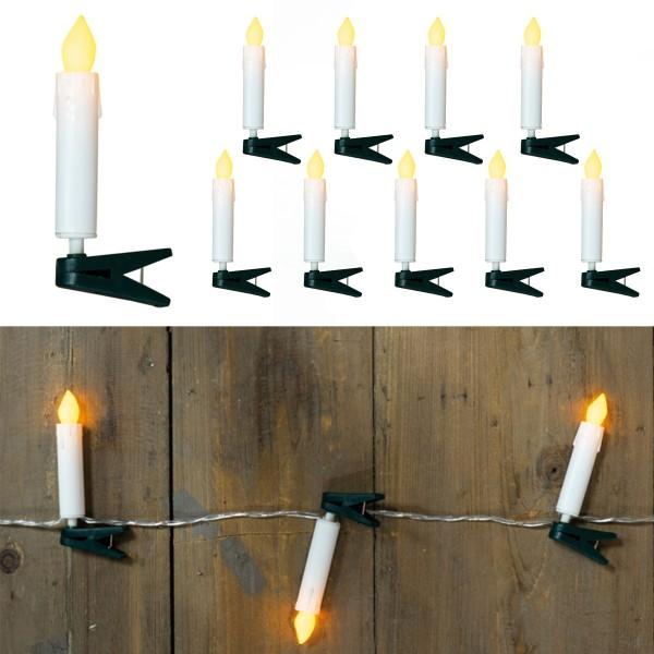LED Kerzenkette - 10 Miniatur Baumkerzen mit Clip - Batteriebetrieb - gelbes Licht - L: 70cm