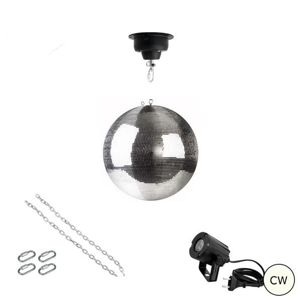 Spiegelkugel Komplettset 30cm mit Motor, LED Pinspot (kaltweiss) und Montagematerial PREMIUM