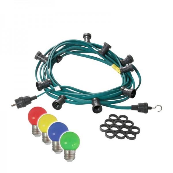 Illu-/Partylichterkette   E27-Fassungen   Made in Germany   mit farbigen, matten LED-Lampen   5m   5x E27-Fassungen
