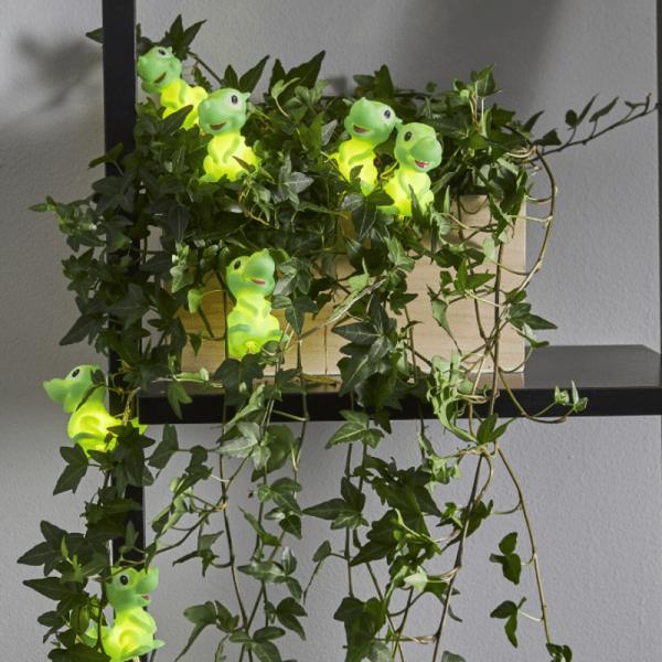 LED Lichterkette Dinosaurier - 10 grüne Dinos mit warmweißen LED - 90cm - Batterie - Timer