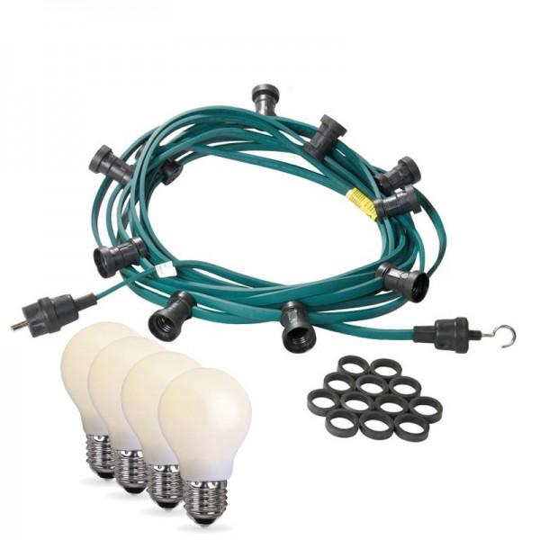 Illu-/Partylichterkette 10m | Außenlichterkette | Made in Germany | 20 x bruchfeste, opale LED Lampen