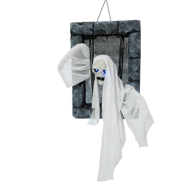 Geist im Knast - Halloween Figur 46cm, Wandmontage - formbare Arme - blinkende LED Augen