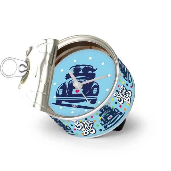 """VW Volkswagen MyClock """"LOVE THAT BUG"""" - Uhr in der Konservendose - magnetisch - Blickfang / Geschenk"""