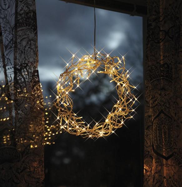 """LED - Kranz """"Curly"""" - beleuchtet - 80 warmweiße LED - Ø ca. 30 cm - Material: Metall/Kunststoff"""