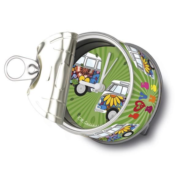 """VW Volkswagen MyClock """"LOVE BUS"""" - Uhr in der Konservendose - magnetisch - Blickfang / Geschenk"""