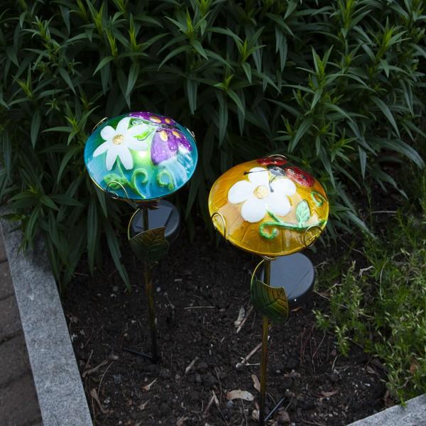 LED Solarstab Glasschirm - mit Schmetterling - blau - kaltweiße LED - H: 44cm - Dämmerungssensor