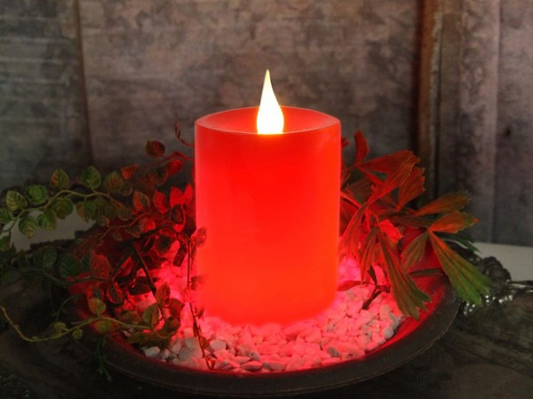 LED-Kerze   Echtwachs   Flame-Design   flackernde LED   →8cm   ↑12cm   Rot