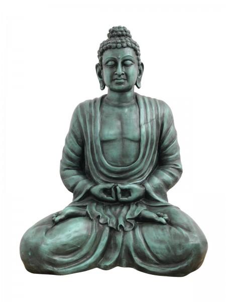 meditierender Buddha - Figur 120cm - antik-schwarz Wischtechnik - aus Fiberglas
