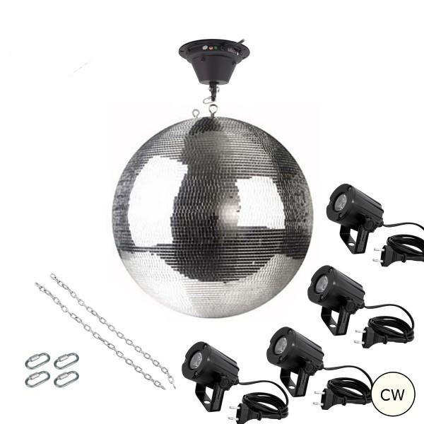 Spiegelkugel Komplettset 50cm mit Motor, 4 x LED Pinspot (kaltweiss) und Montagematerial PROFI