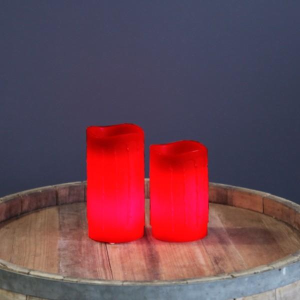 "LED Kerze ""Drip"" - Echtwachs - flackernde LED - Timer - H: 15cm - rot"