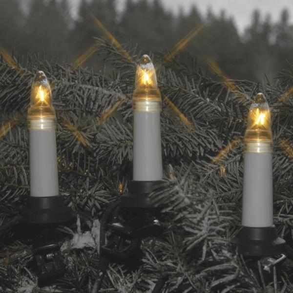 Kerzenkette - 16 warmweiße Kerzen - Outdoor - Ring - E10 Fassung - H: 11cm, L: 7,5m - weiß