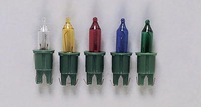 Pisellokerze mit Stecksockel 2,5V bunt, grüner Sockel