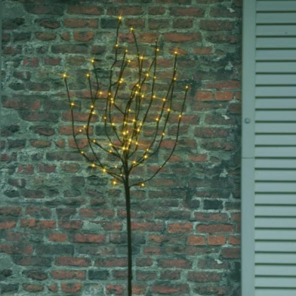 LED-Lichtbaum - 70x warmweiße Micro-LED - H: 110cm - Trafo - ganzjährige Gartendekoration - braun