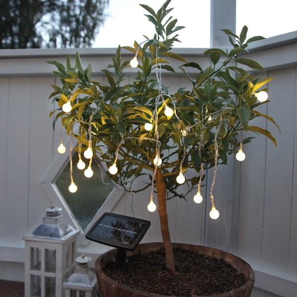LED Solarlichterkette Globini - 20 warmweiße LED - L: 4,75m - Dämmerungssensor - outdoor
