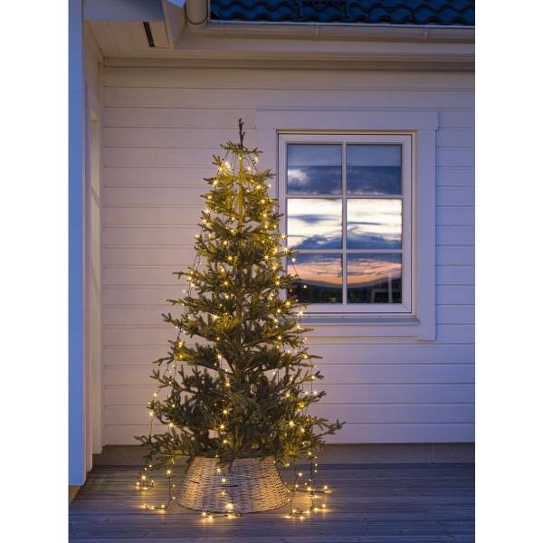 LED Baummantel Lichterkette - 8 Stränge á 30 ultra warmweiße LED - L: 2,4m - Timer - gefrostet