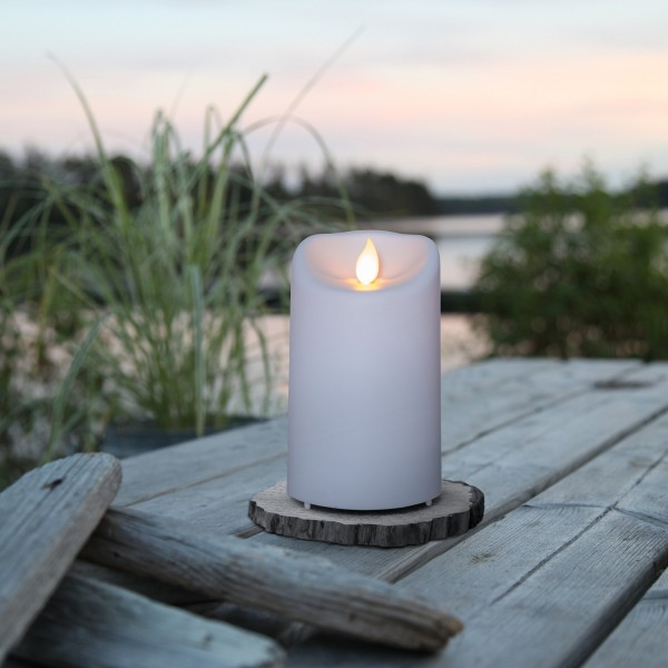 "LED Stumpenkerze ""M-Twinkle"" - bewegte Flamme - H: 12,5cm - Batteriebetrieb - Timer - outdoor"