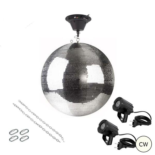 Spiegelkugel Komplettset 50cm mit Motor, 2 x LED Pinspot (kaltweiss) und Montagematerial PROFI