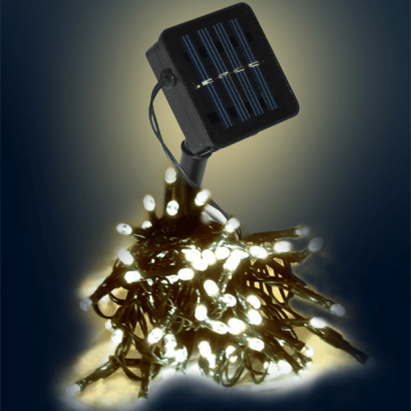 LED SOLAR Lichterkette - 100x warmweiße LEDs - In&Outdoor - grünes Kabel - warmweiße LED - L: 10