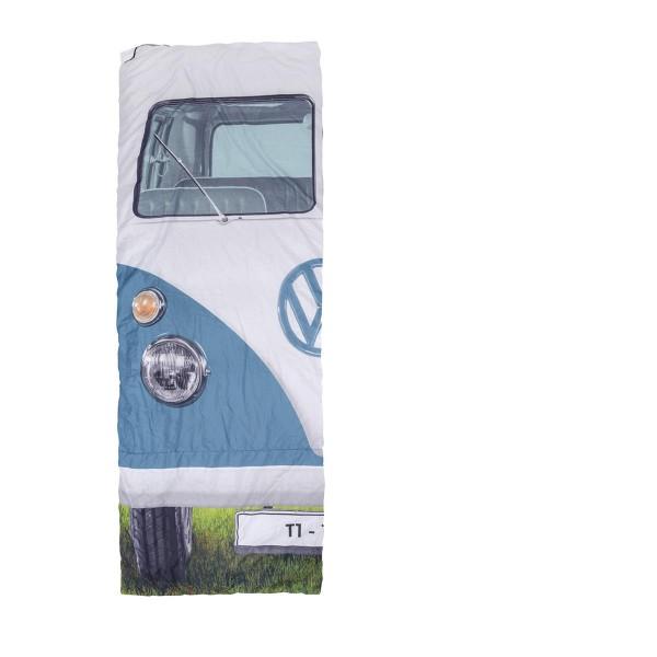 VW Collection - T1 Bulli Schlafsack blau - 2 Jahreszeiten - +5°C bis +15°C - wasserdichtes Pongee Ge