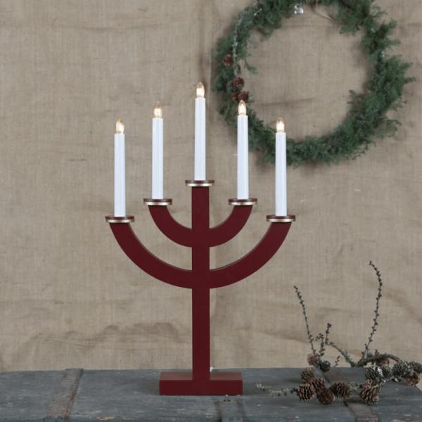 """Kerzenleuchter """"Toarp"""" - 5 Arme - warmweiße Glühlampen - H: 53cm, L: 33cm - Schalter - Rot/Gold"""