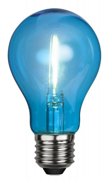 LED Leuchtmittel DEKOPARTY blau - klar - A60 - E27 - 1W - 14lm
