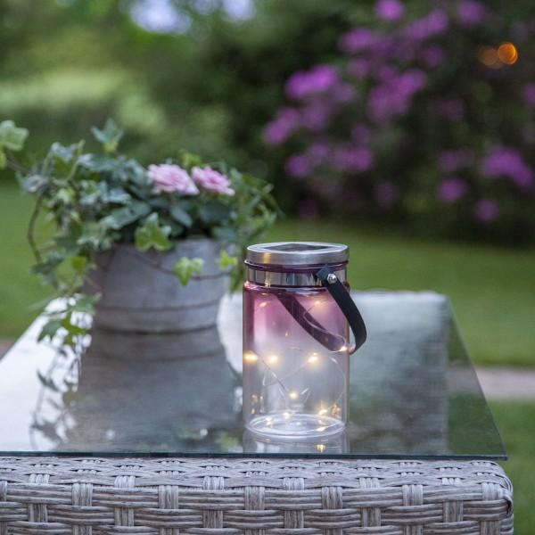 LED Solarglas TINT - LED Drahtlichterkette - Lichtsensor - H:15cm, D: 9cm - mit Aufhänger - pink