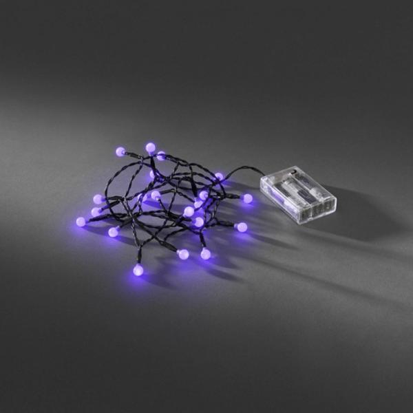 LED-Lichterkette - Pearl Line Indoor - 1,82m - 20x Lila - Schwarzes Kabel - Batteriebetrieb - Timer