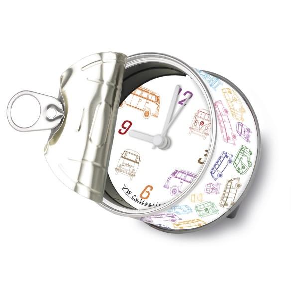 """VW Volkswagen MyClock """"BULLI T1"""" - Uhr in der Konservendose - magnetisch - Blickfang / Geschenk"""